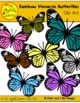 Clip Art: Rainbow Monarch Butterflies