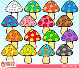 Rainbow Mushrooms clipart
