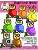 Clip Art: Rainbow Owls