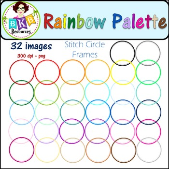 Clip Art - Rainbow Palette Stitch Circle Frames - Commercial Use!