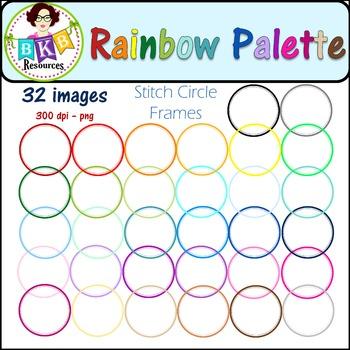 Clip Art - Rainbow Palette Stitch Circle Frames - Commercial Use!