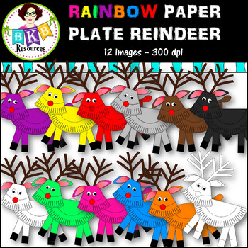 Clip Art ● Rainbow Paper Plate Reindeer ●Digital Images●Products for TpT Sellers
