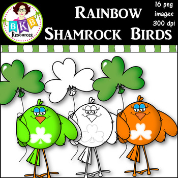 Clip Art ● Rainbow Shamrock Birds ● Products for TpT Sellers