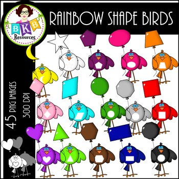 Clip Art ● Rainbow Shape Birds ● Products for TpT Sellers