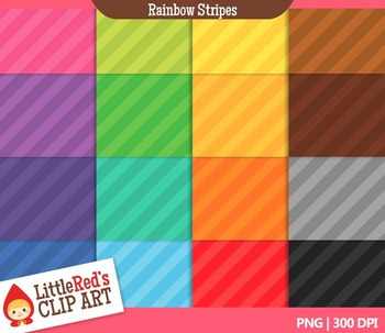 Rainbow Stripes Backgrounds - 16 Digital Papers