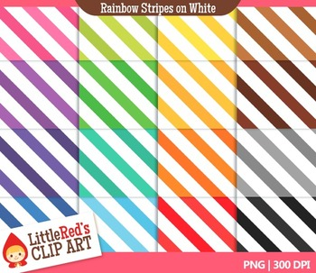 Clip Art: Rainbow Stripes on White Backgrounds - 16 Digital Papers