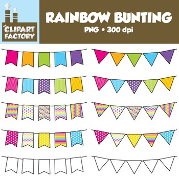 Clip Art: Rainbow Themed Bunting - 10 Fun Banners