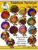 Clip Art: Rainbow Turkeys