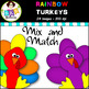 Clip Art ● Rainbow Turkeys  ● Digital Images ● Products for TpT Sellers