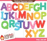 Rainbow Uppercase Letters with Punctuation Clipart