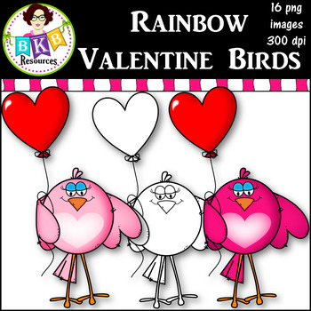Clip Art ● Rainbow Valentine Birds ● Products for TpT Sellers