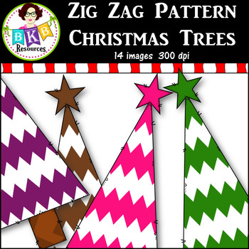 Clip Art ● Rainbow Zig Zag Pattern Christmas Trees ● Products for TpT Sellers