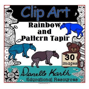 Clip Art - Rainbow and Pattern Tapir with Easy TOU!