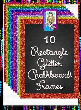 Clip Art ~ Rectangle Glitter Chalkboard Frames - Fantastic