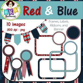 Clip Art - Red & Blue Frames, Labels, Ribbons and Banner -
