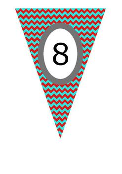 Clip Art Red & Turquoise Chevron Flags