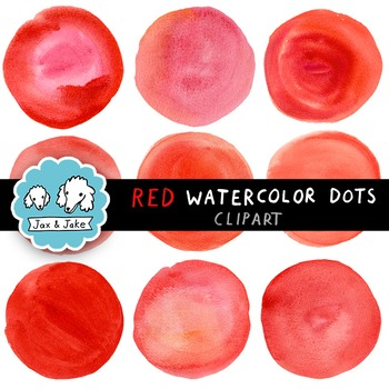 Clip Art: Red Watercolor Dots / Circles for Personal and Commercial Use
