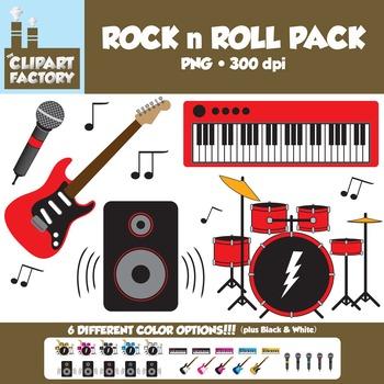 Clip Art: Rock n Roll Fun Bundle Pack - 18 Digital Papers-8 Color Instruments