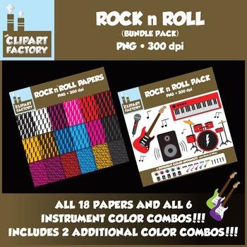 Clip Art: Rock n Roll Fun Bundle Pack - 18 Digital Papers-