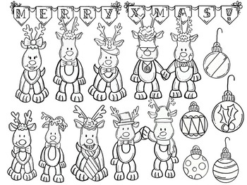 Clip Art~ Rudolph and His Crew