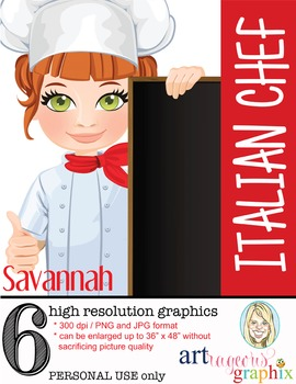 Clip Art - SAVANNAH - female, girl, chef, student, digital