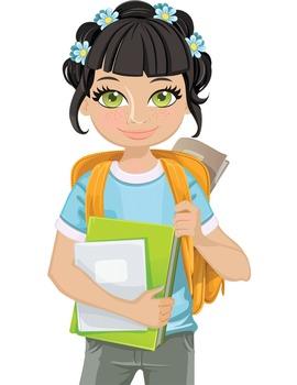 Clip Art - SAVANNAH - female, girl, student, digital graphics - backpack