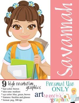 Clip Art - SAVANNAH - female, girl, student, digital graph