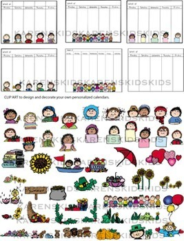 CALENDAR Clip Art SCHOOL DAYS SET