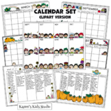 CALENDAR Templates Kit Annual_Monthly_7 Day Weekly_5 Day Weekly Clip Art