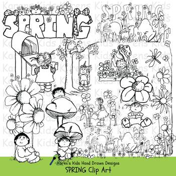 Clip Art SPRING and KIDS (Karen's Kids Clip Art)