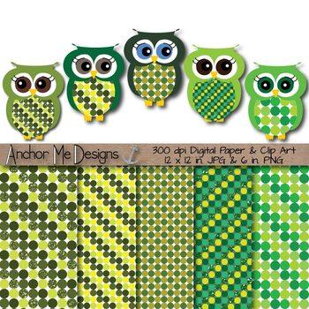 Clip Art Saint Patrick's Day Polka Dot Paper & Owls (green & green glitter)