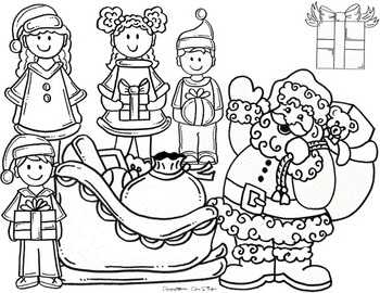 Clip Art~ Santa and His Christmas Elves