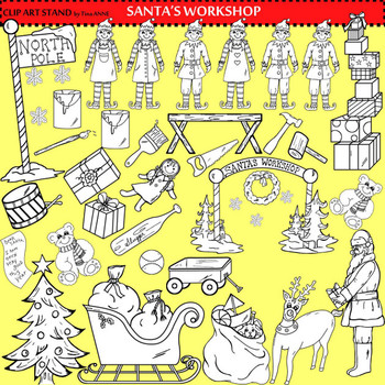 Clip Art Santa's Work Shop Collection in black and white