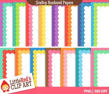 Scallop Bordered Backgrounds { Digital Paper - Clip Art }