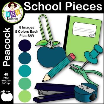 Clip Art ● School Pieces ● Peacock Color Series ● Commercial Use