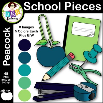 Clip Art ● School Pieces ● Peacock Color Series ● Commercial Use
