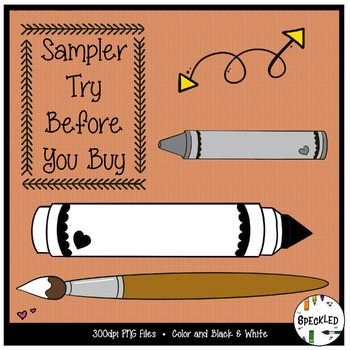 Clip Art School Supplies. 5 Piece Sampler. Try Before You Buy Clipart Set.