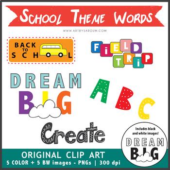 Clip Art School Theme Words