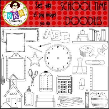 Clip Art -School Time Doodles Set #1 {Graphics for Commerc