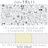 Clip Art: Science Doodles + 3 copybook digital papers