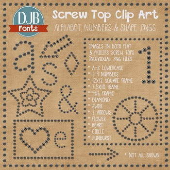 Clip Art: Screw Top Shapes & Letters & Borders