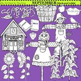 Clip Art September black and white