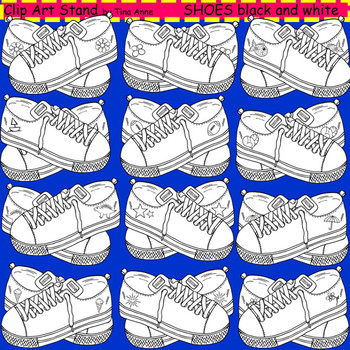 Clip Art Shoes in black and white