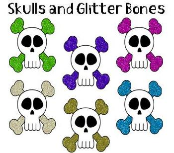Clip Art - Skulls with Glitter Bones!