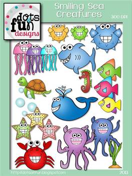 Clip Art: Smiling Sea Creatures