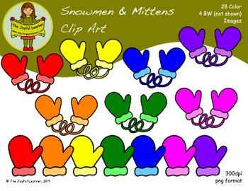 Clip Art: Snowmen & Mittens (7 colors)