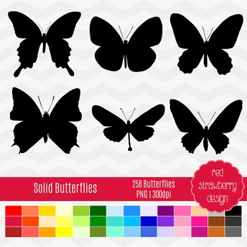Clip Art - Solid Butterflies - Back to Basics