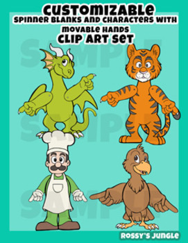 Clip Art: Spinner Blanks and Characters with movable arms