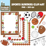 Clip Art: Sports Borders Clip Art - Borders and assorted sports equipment