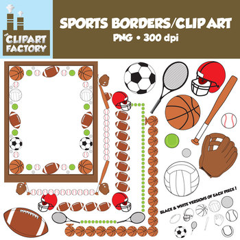 Clip Art: Sports Borders Clip Art - Borders and assorted sports equipment